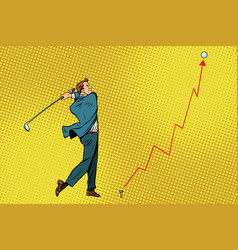 Businessman golf shot profit graph vector