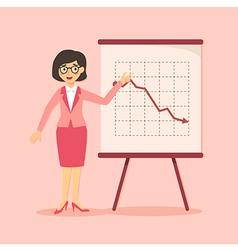 Businesswoman presentation falling down pink vector