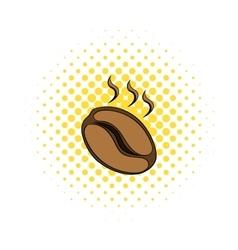 Coffee bean icon comics style vector image