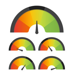 Customer satisfaction meter speedometer set vector