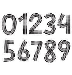 Digits made from tank and tractor tracks vector