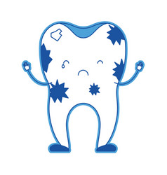 dirty tooth cartoon in blue silhouette vector image