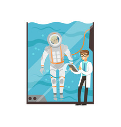 Doctor conducts medical examination of astronaut vector