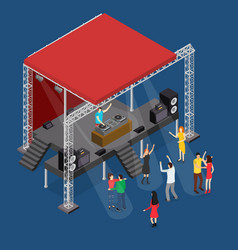Event stage podium construction disco isometric vector