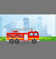 fire truck in flat style on vector image