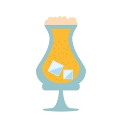 Glass drink beverage liqueur ice foam vector