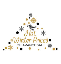 hot winter prices clearance with triangular label vector image