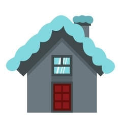 House with snow on roof icon flat style vector