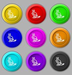 Kangaroo icon sign symbol on nine round colourful vector