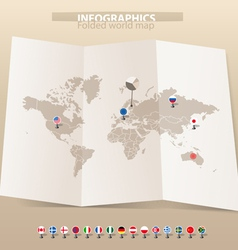 Map and flags of different countries vector