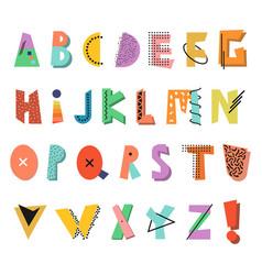 Memphis alphabet colorful funny font fashion 80 vector
