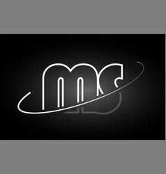 Ms m s letter alphabet logo black white icon vector