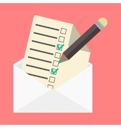 Open envelope and check list vector