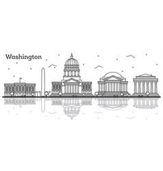 Outline washington dc usa city skyline with vector