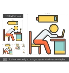 Tired worker line icon vector