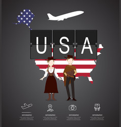 traveling to usa with map of infographic vector image vector image