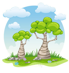 Two cartoon trees vector