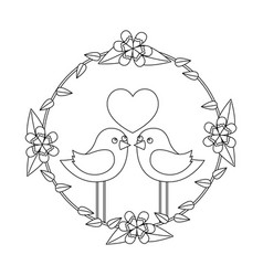 Two happy cute bird in love with the heart in vector