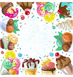 vintage ice cream frame vector image vector image