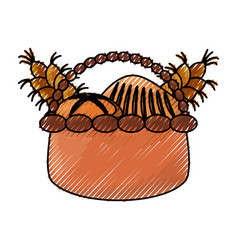 Wicker basket loaf vector