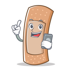 with phone band aid character cartoon vector image