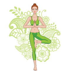 Women silhouette yoga tree pose vrikshasana vector