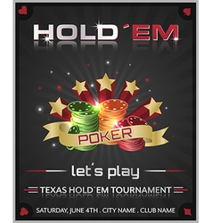 Poker tournament dark background with poker chips vector