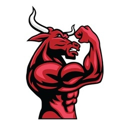 Bull bodybuilder posing his muscular body vector