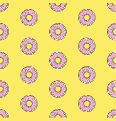Seamless pattern background with colorful donuts vector