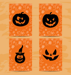 Set of art cards for happy halloweendesign vector