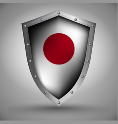Shield with the japanese flag vector