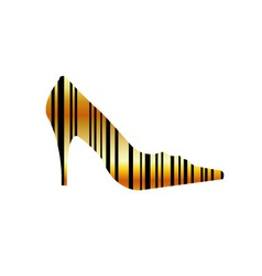 Graphical bar code shoe vector
