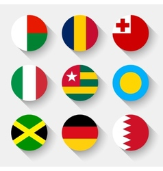 Flags of the world round buttons vector