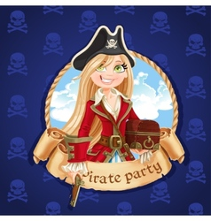 Cute pirate girl with treasure chest vector