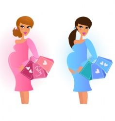 Women awaiting baby boy girl vector
