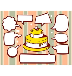 Cake with speech comics bubbles on patter vector