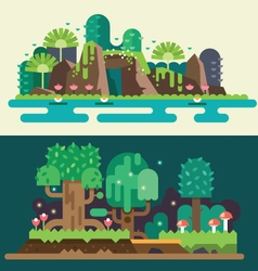 Tropical and forest landscapes vector image