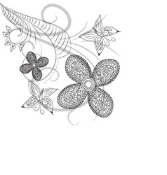 Floral ink vector