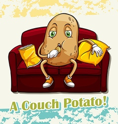English idiom couch potato vector