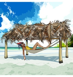 Cartoon woman resting in a hammock on the beach vector