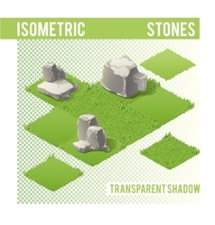 Isometric stones and lawn vector