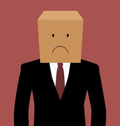Cardboad businessman with an unhappy face vector