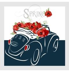 Vintage card with retro car vector