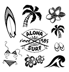 Tropical surfing and relax symbols ink sketch set vector