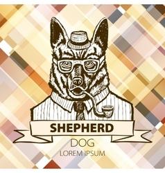 German Shepherd dressed up in suit fashion dog vector image