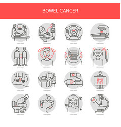 Bowel cancer line icons vector