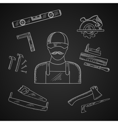 Carpenter and toolbox tools icons vector image