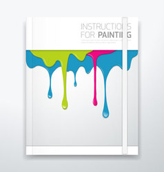 Cover paint colorful dripping vector