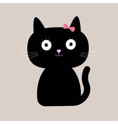 Cute cartoon black cat with big eyes vector image
