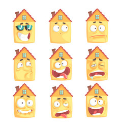 cute cartoon humanized house with with many vector image vector image